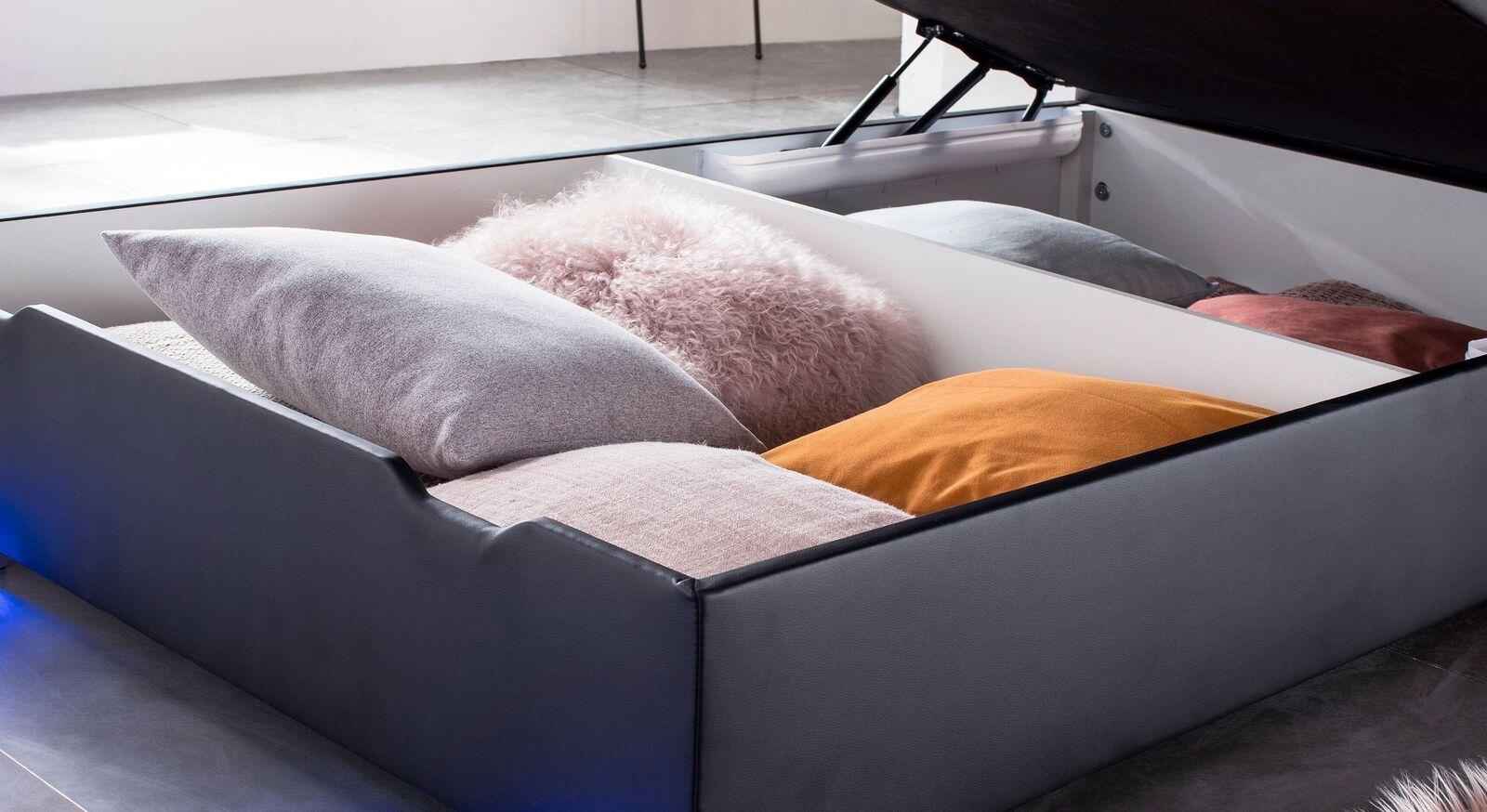 Bettkasten-Boxspringbett Andrik mit geteiltem Stauraum