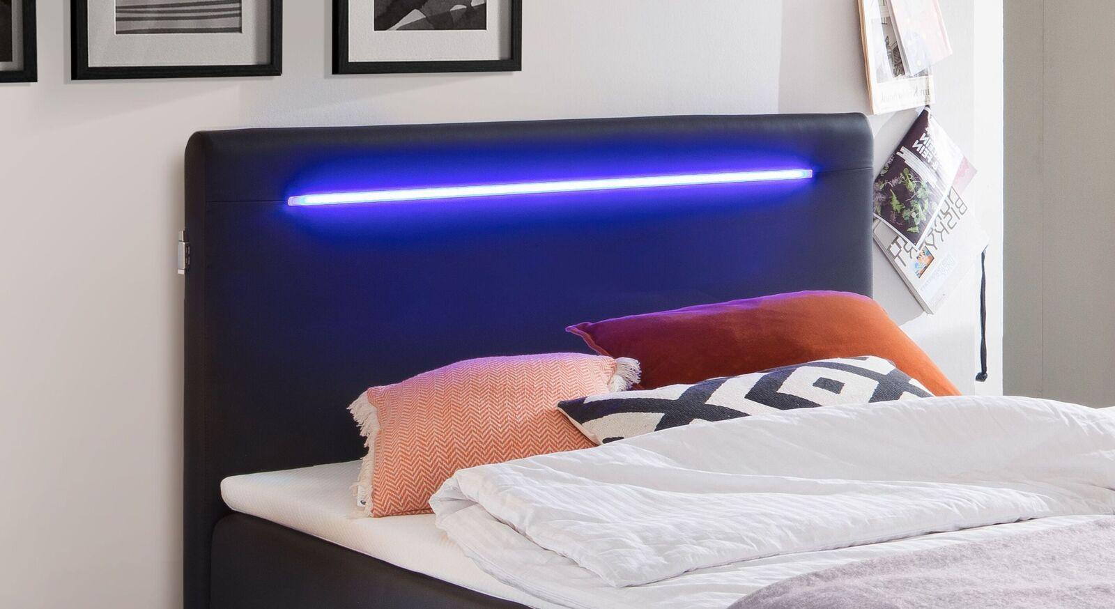 Bettkasten-Boxspringbett Andrik mit Kopfteil-Beleuchtung