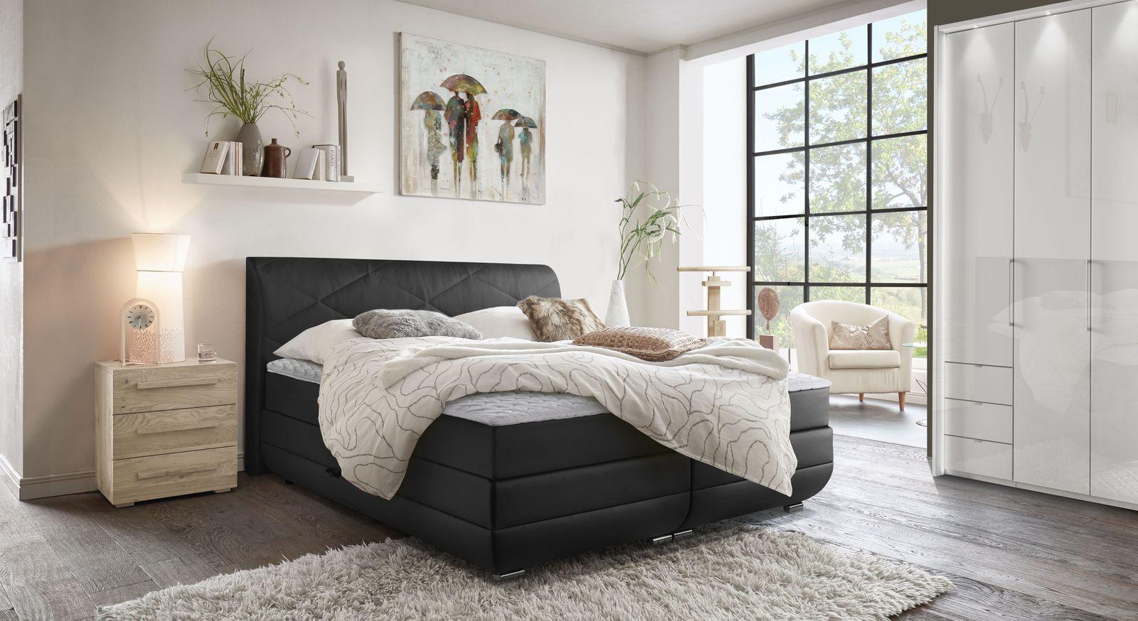 Bettkasten-Boxspringbett Christiana mit Schlafzimmer-Möbeln