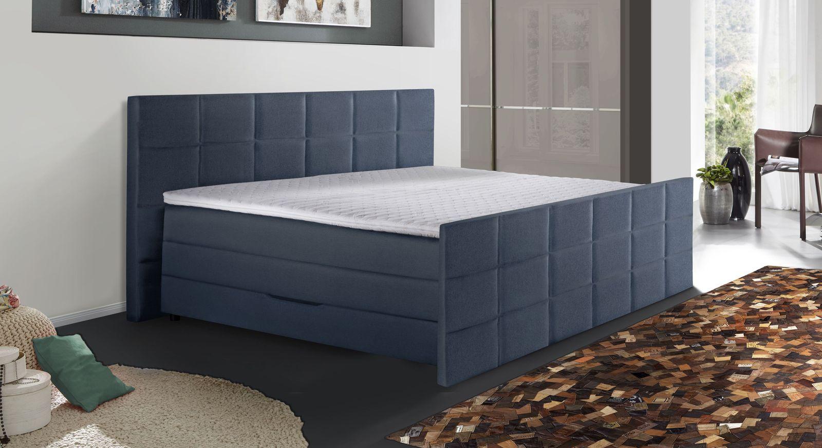 Bettkasten-Boxspringbett Cordilla mit blauem Stoffbezug
