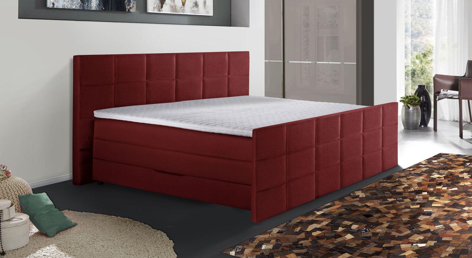 Bettkasten-Boxspringbett Cordilla mit rotem Stoffbezug