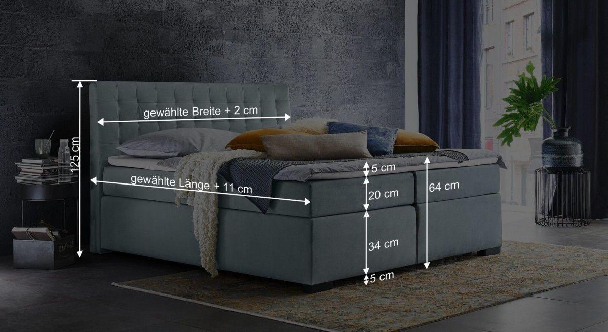 Bemaßungsgrafik zum Bettkasten Boxspringbett Edessa