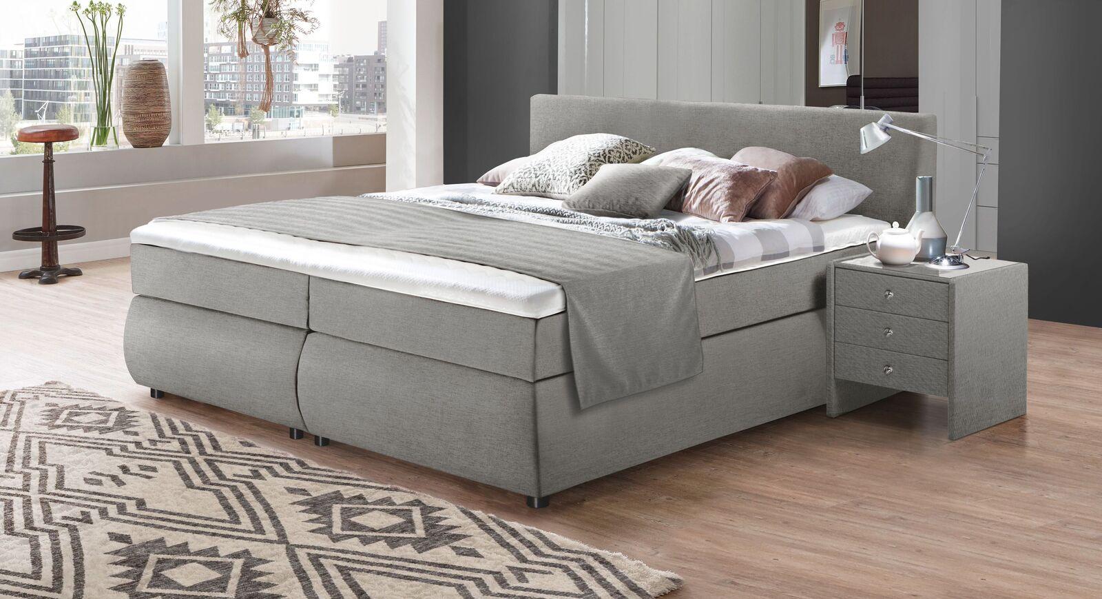 Bettkasten-Boxspringbett Highgate mit Webstoffbezug in Grau