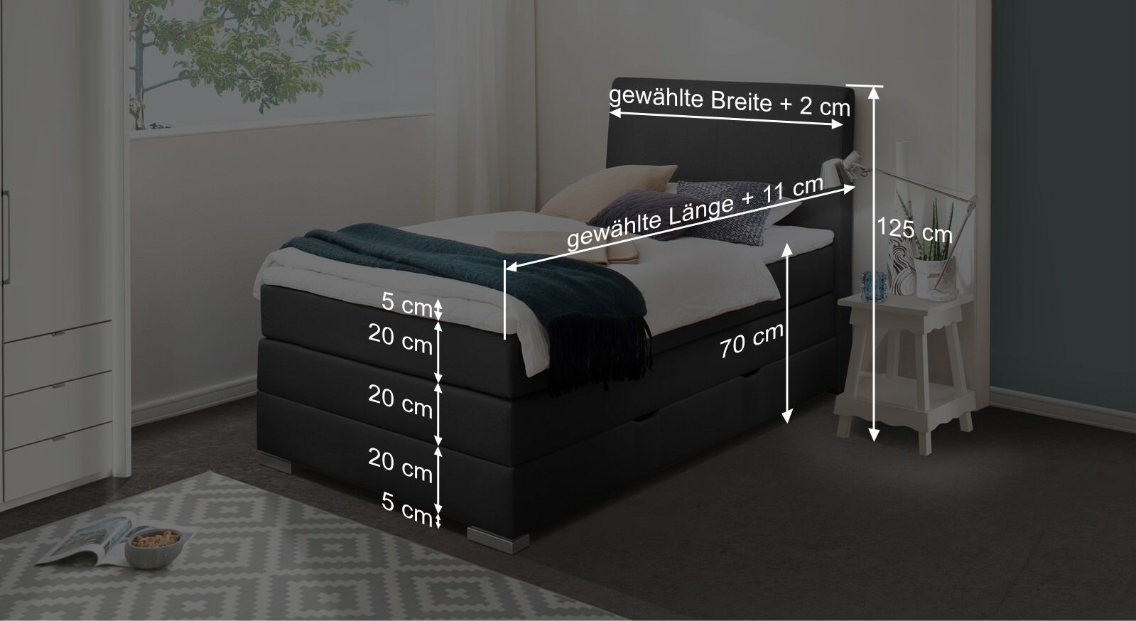 Bemaßungs-Skizze zum Bettkasten-Boxspringbett Ivetta