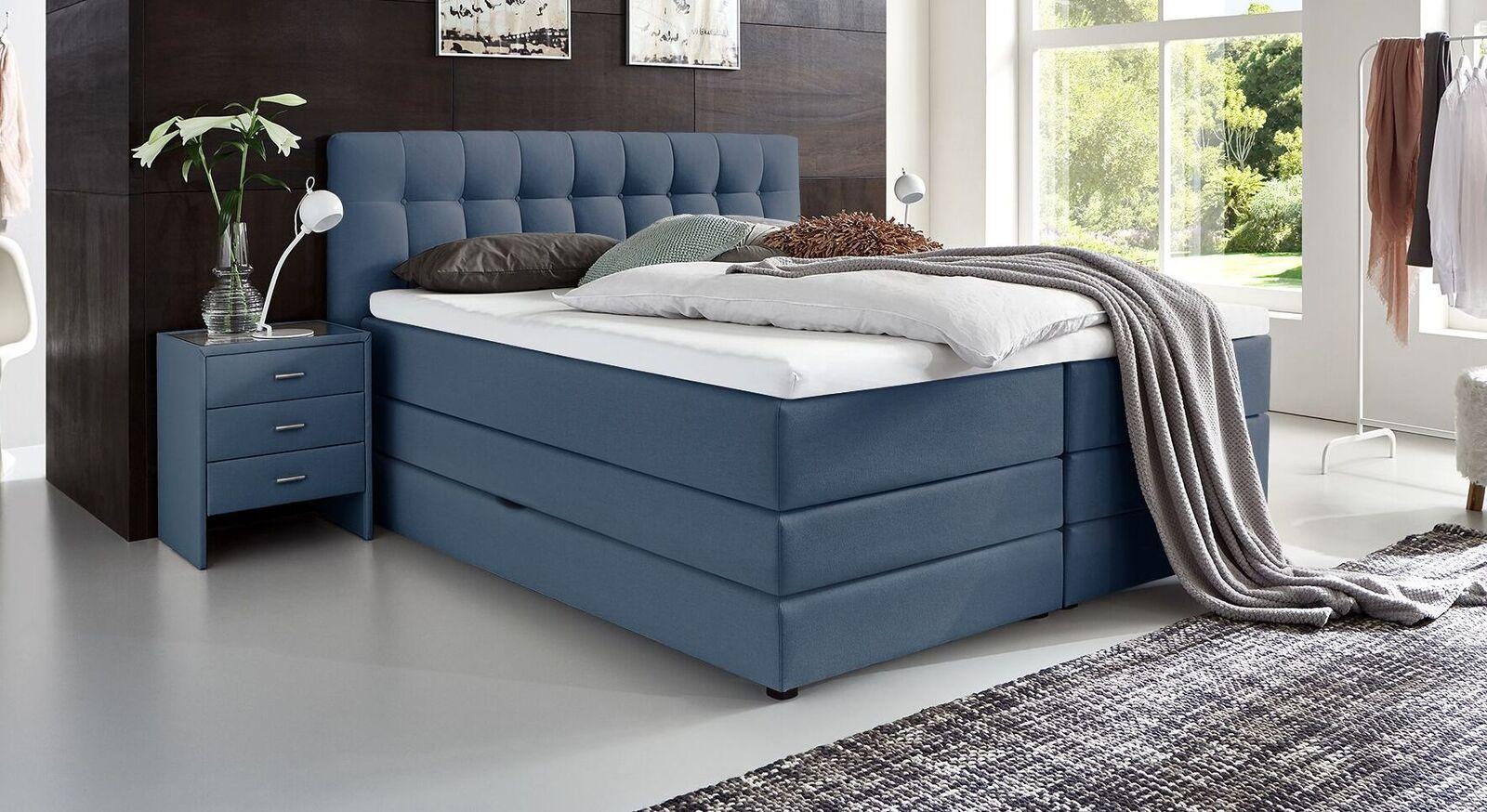 Bettkasten-Boxspringbett Luciano mit Stoffbezug in Blau