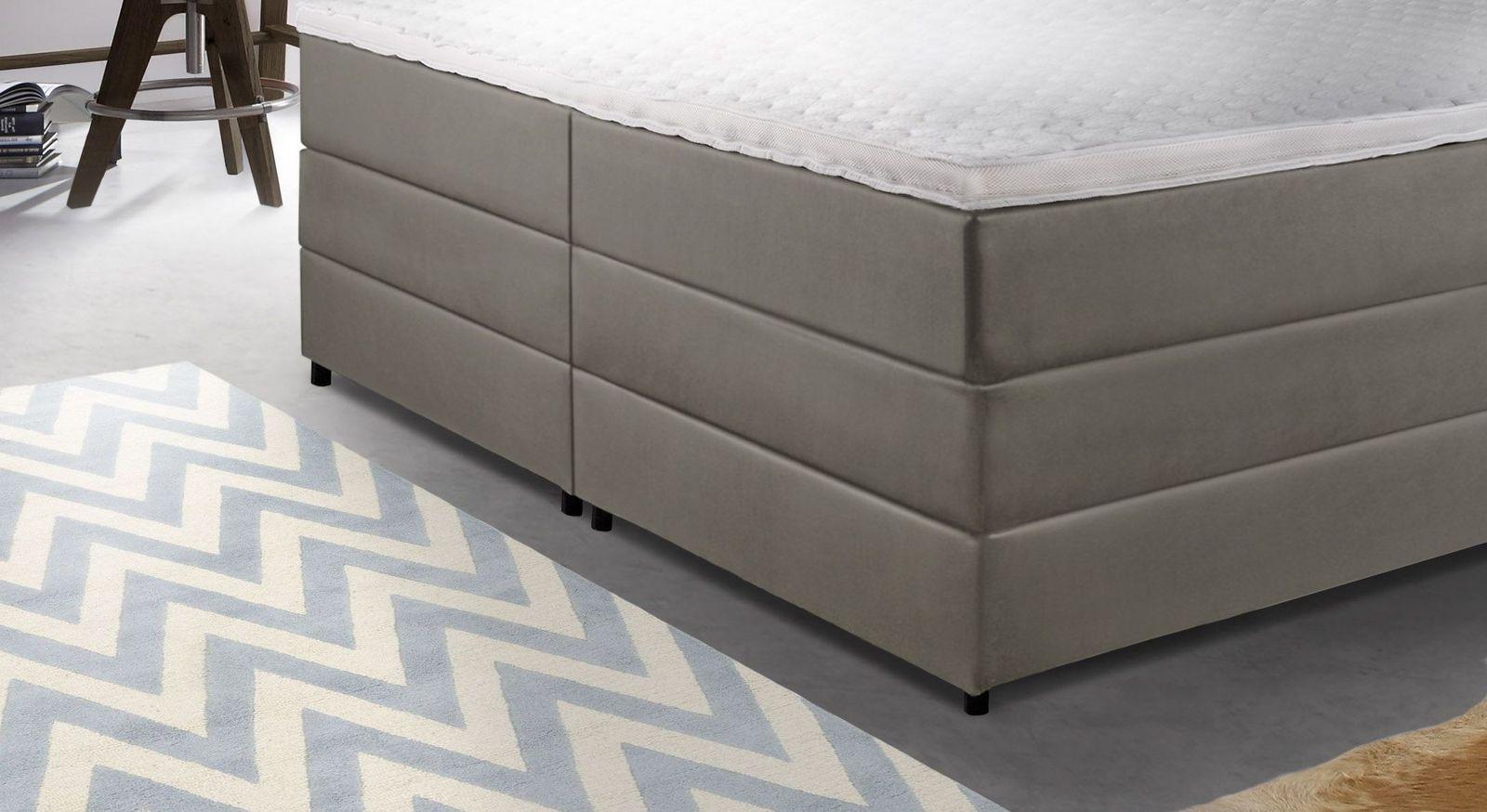 boxspringbett mit bettkasten und gestepptem kopfteil portmore. Black Bedroom Furniture Sets. Home Design Ideas