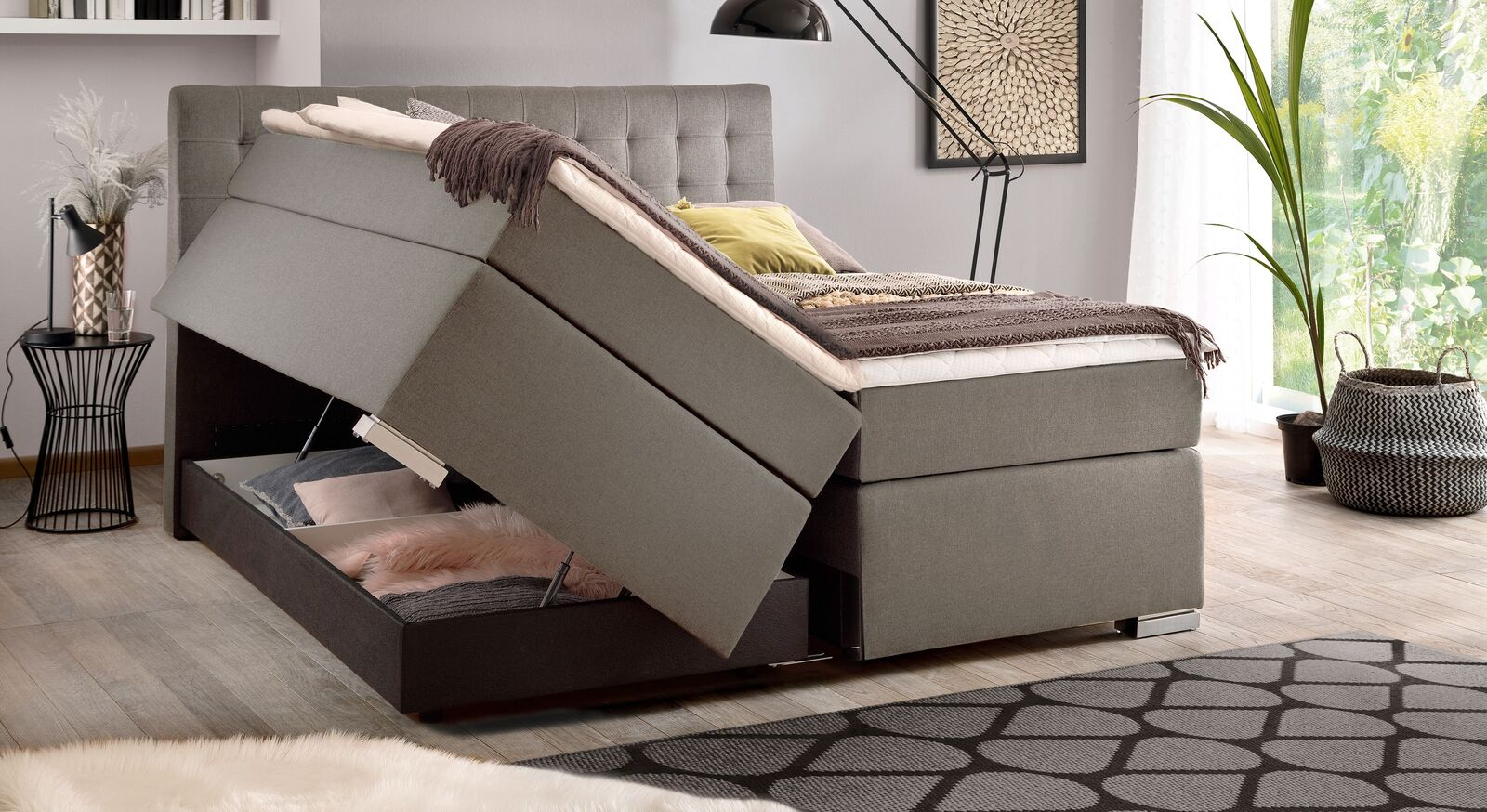 Bettkasten-Boxspringbett Santera mit integriertem Stauraum
