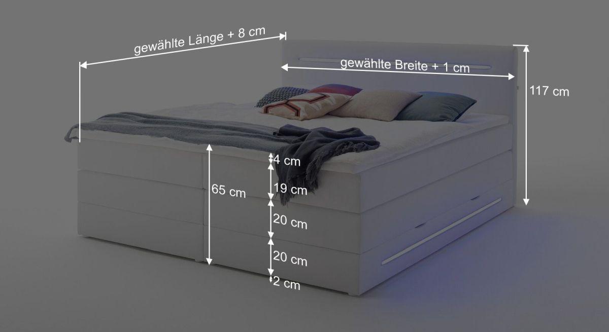 Bemaßungsgrafik zum Bettkasten Boxspringbett Tarasco