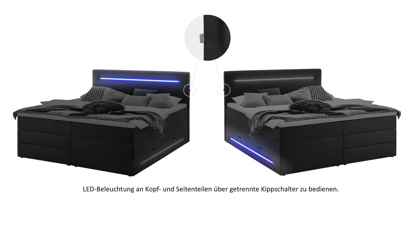 Grafik zur LED-Beleuchtung zum Bettkasten-Boxspringbett Tollocan