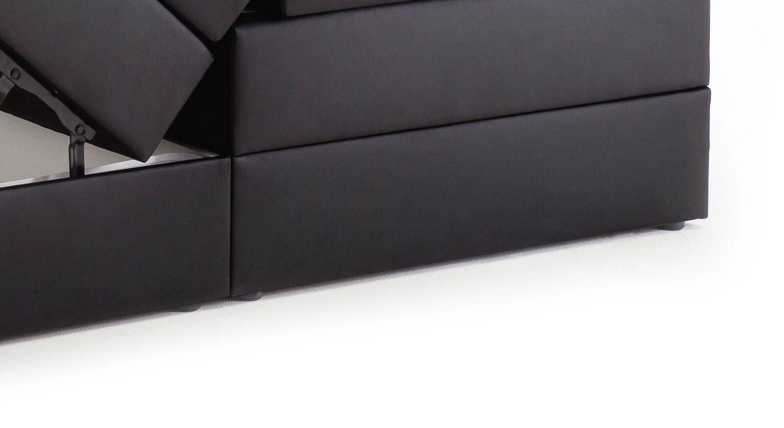Bettkasten-Boxspringbett Tollocan mit niedrigen Kunststoffgleitern