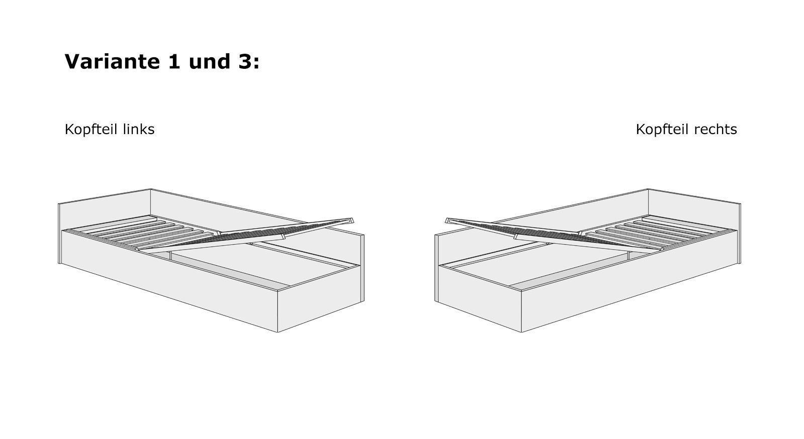 Studioliege Grazianos Bettkasten-System mit Lattenrost