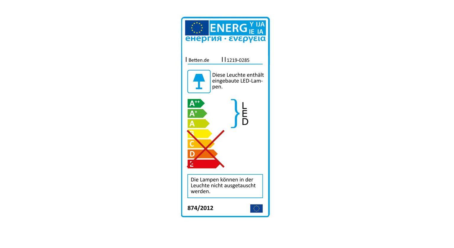 Kennzeichnung zum Energieverbrauch der Bettleuchte Surano