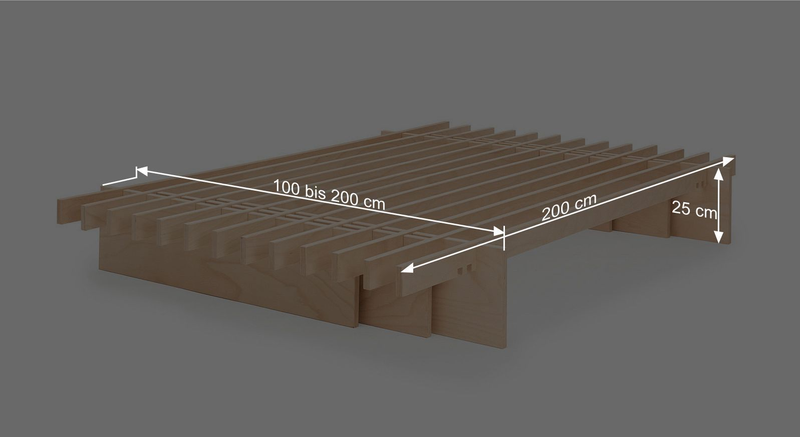 Bemaßungsgrafik zum Bettsystem Tojo Parallel
