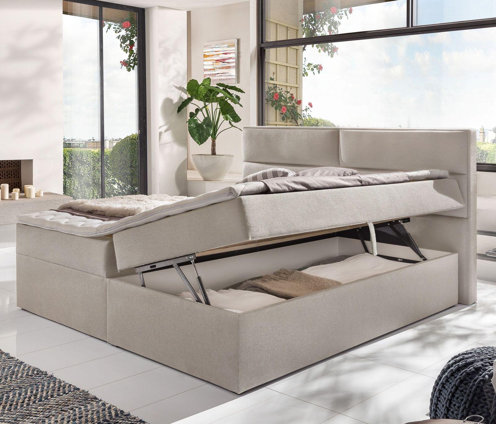 stoff boxbett 180x200 cm inklusive matratzen topper belcastro. Black Bedroom Furniture Sets. Home Design Ideas