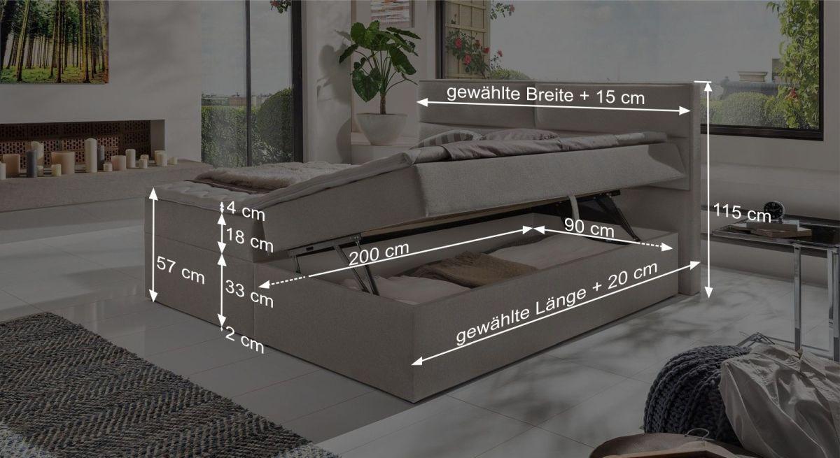 Boxsbett Belcastro mit übersichtlicher Maßgrafik