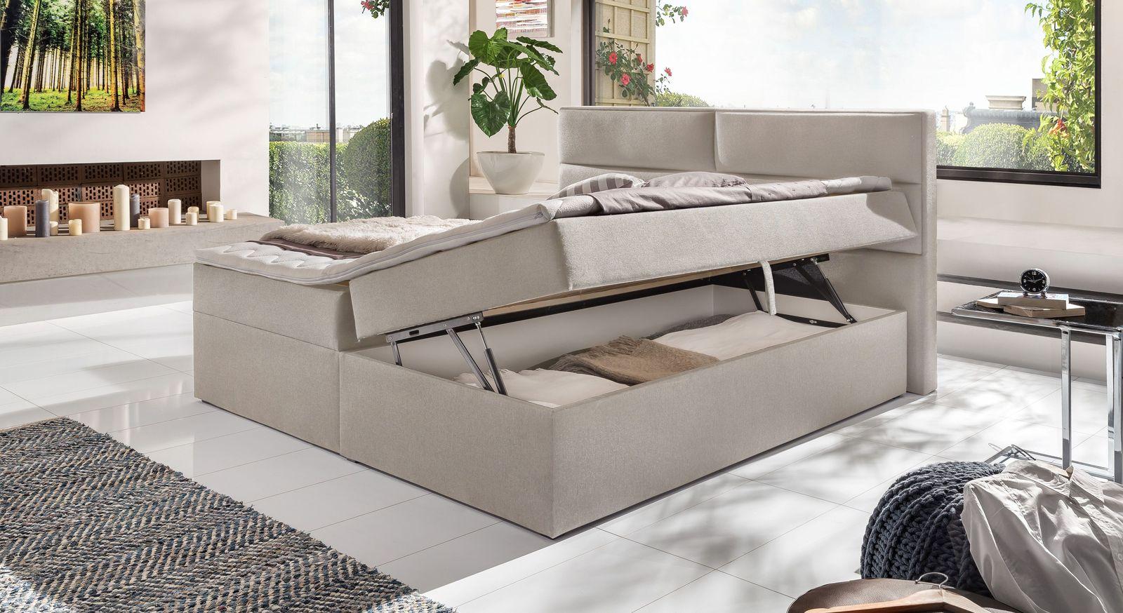 Praktisches Boxbett Belcastro mit Stauraum in Beige