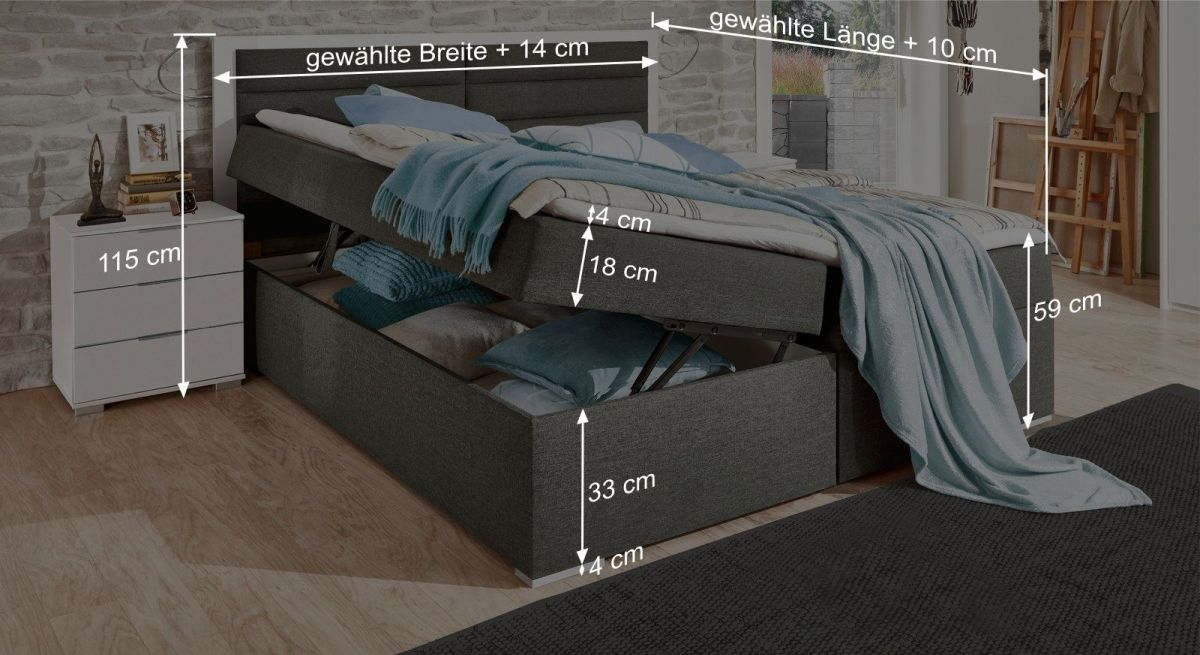 Praktische Maßgrafik zum Boxbett Cartini