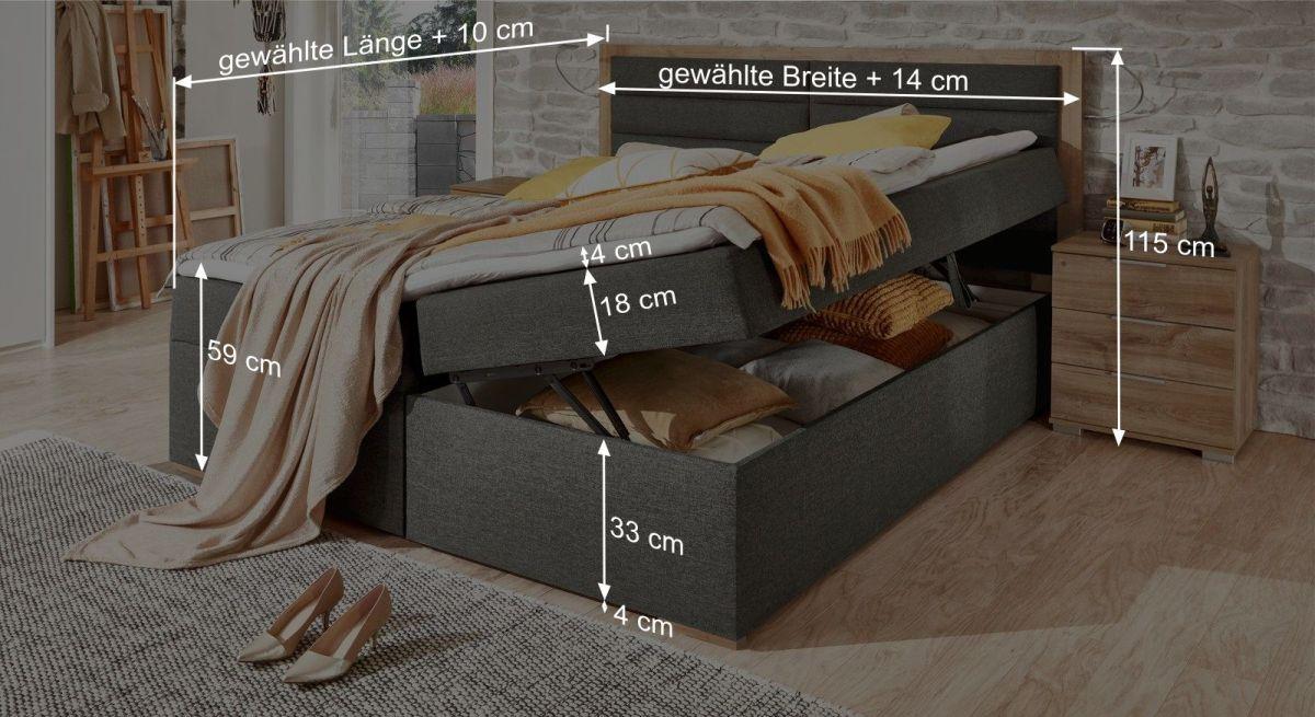 Grafik zur Übersicht der Maße vom Boxbett Rovito