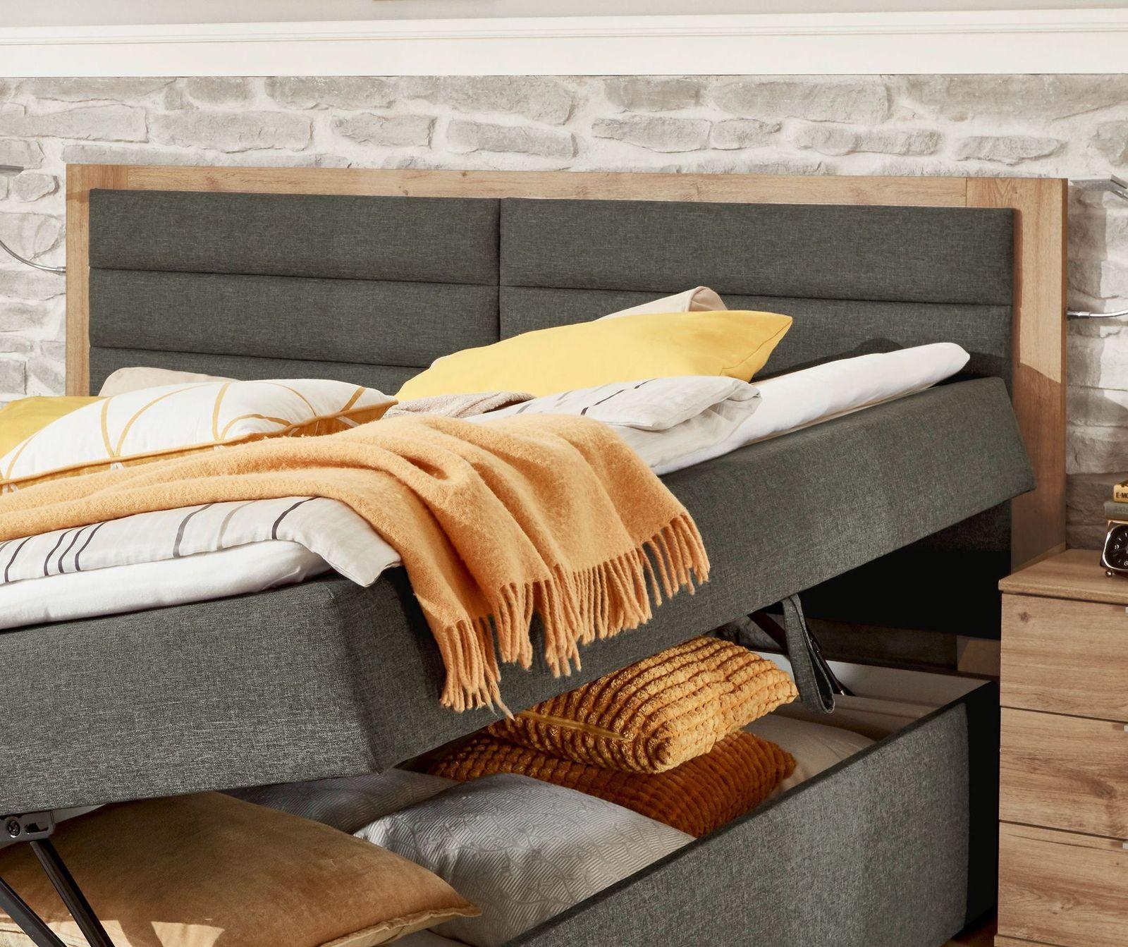 funktions polsterbett mit matratze und topper anthrazit rovito. Black Bedroom Furniture Sets. Home Design Ideas