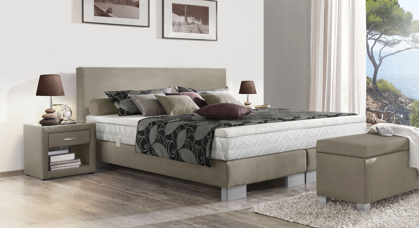 boxspring base aus box und kopfteil f r boxspringbetten. Black Bedroom Furniture Sets. Home Design Ideas
