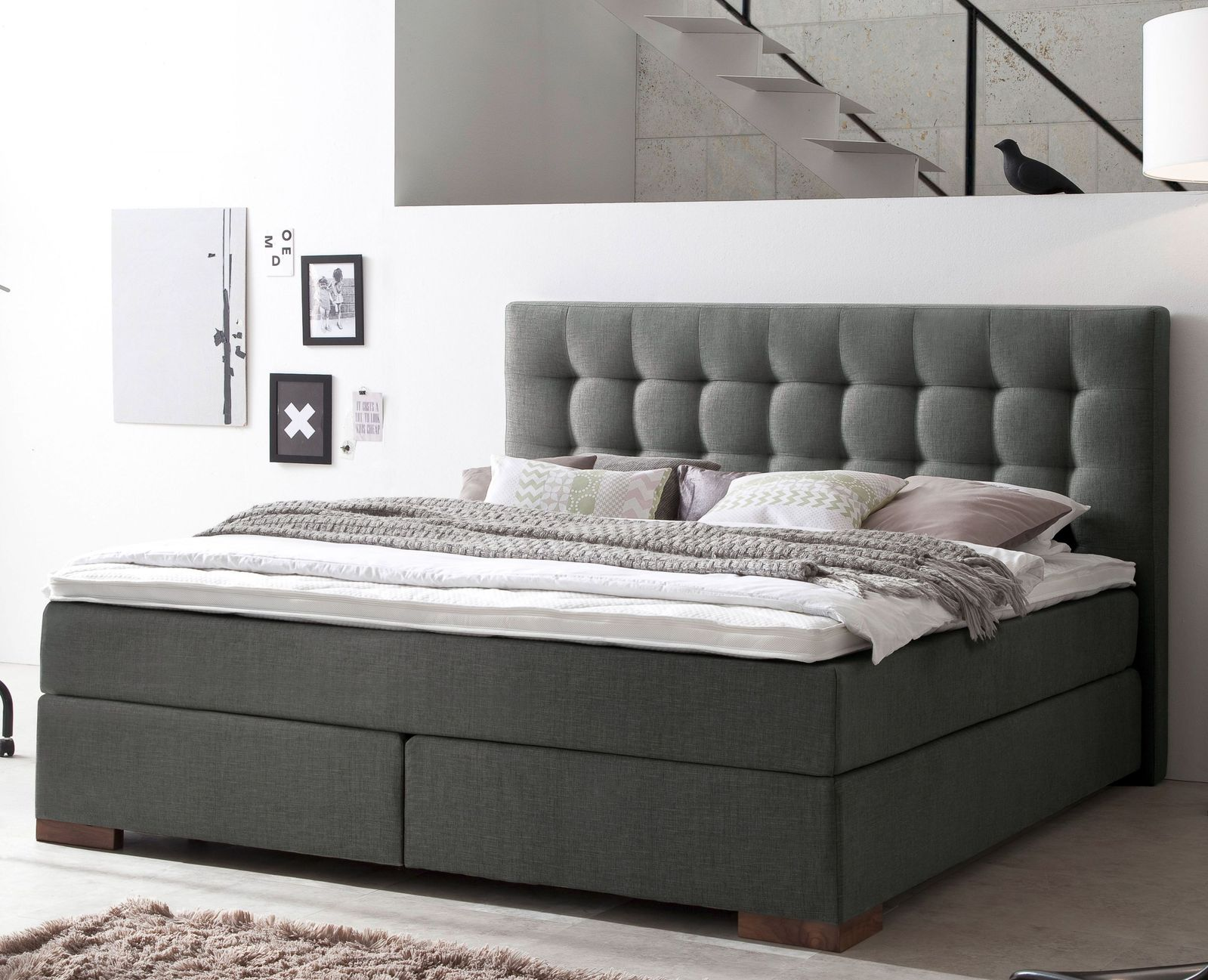 boxspringbett in z b 160x200 cm in h2 bis h5 g nstig arlon. Black Bedroom Furniture Sets. Home Design Ideas