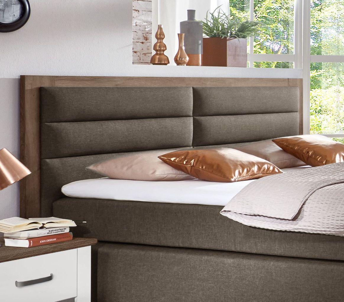 boxspringbett in schlammeiche dekor mit polster kopfteil baduro. Black Bedroom Furniture Sets. Home Design Ideas