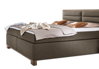 Boxspringbett Baduro in Webstoff-Holz Kombination