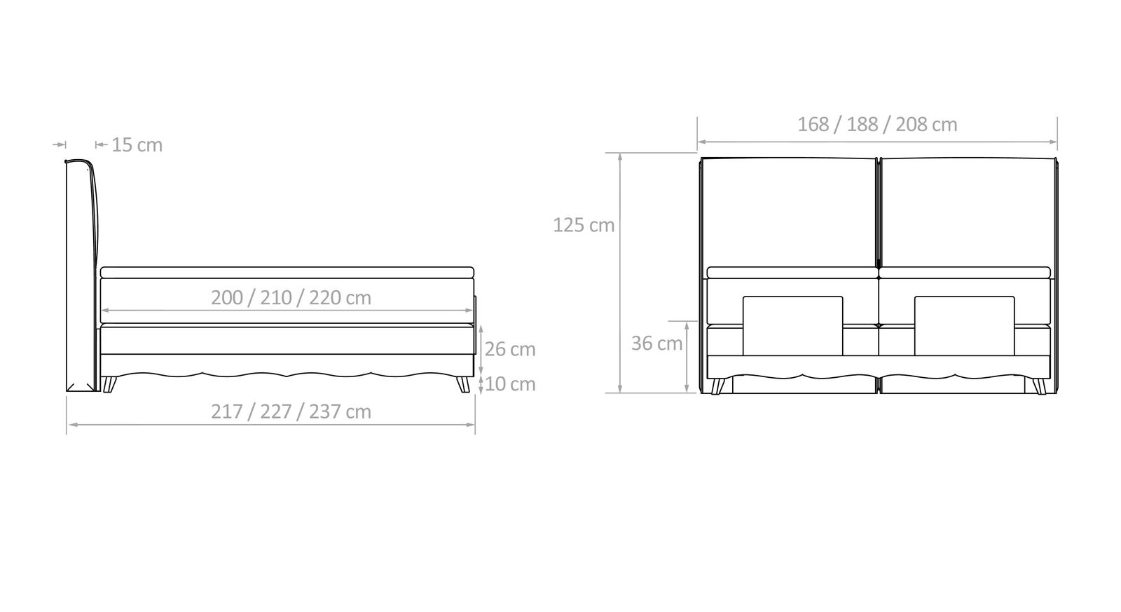 Grafik über die Maße des Boxspringbettes Bakar