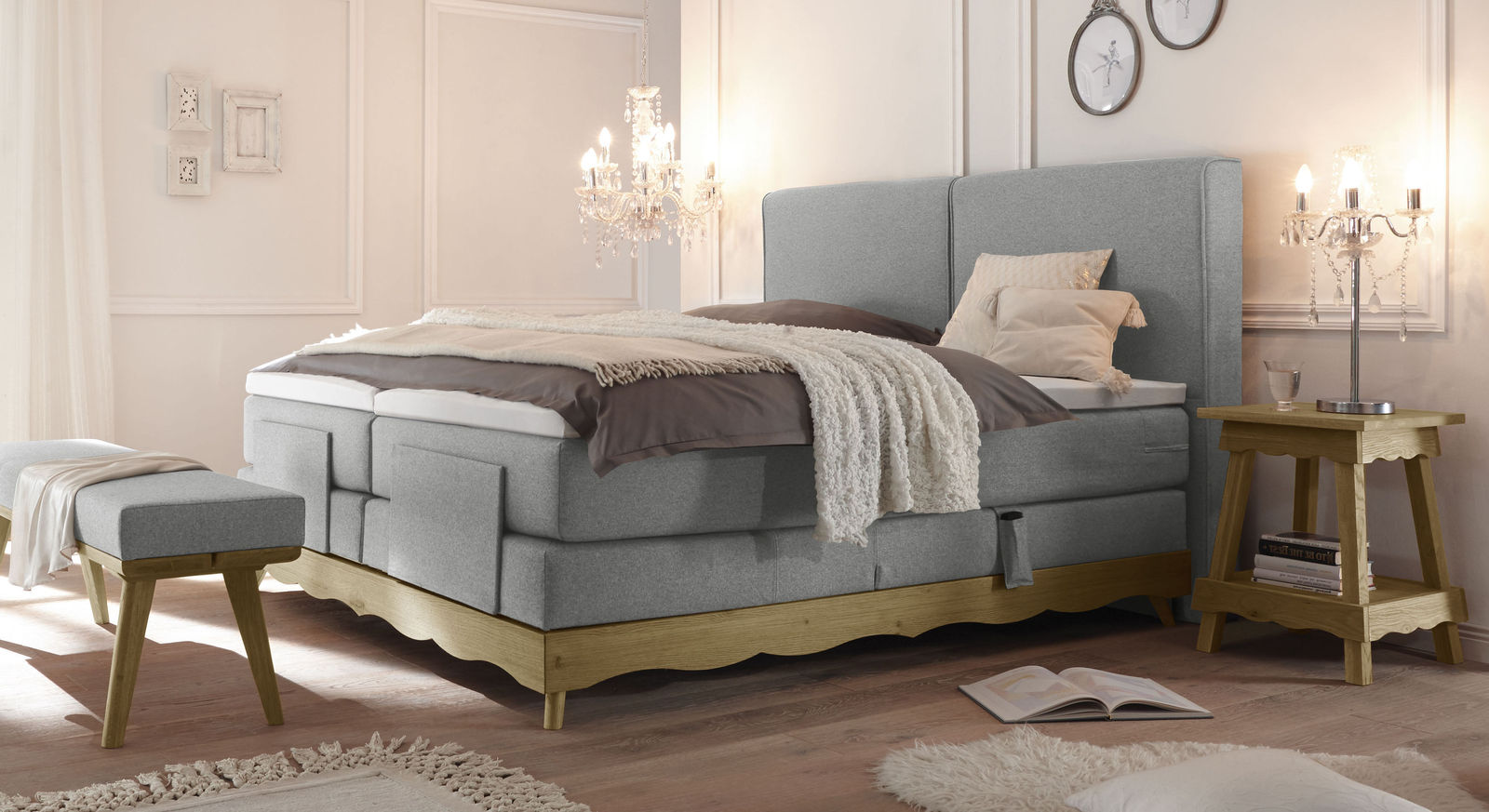 elektro boxspringbett inklusive luxus matratze und topper bakar. Black Bedroom Furniture Sets. Home Design Ideas
