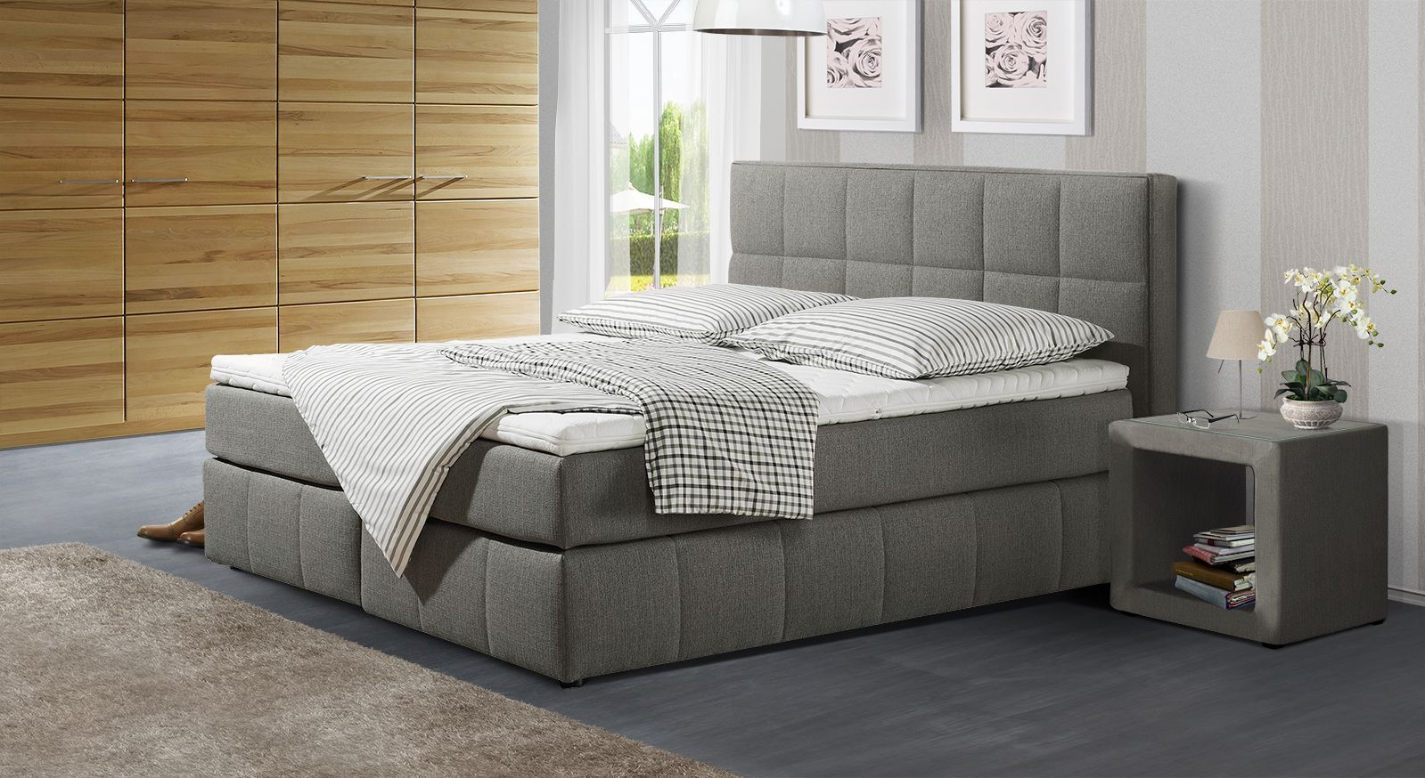 Boxspringbett Belfort in grauem Webstoff