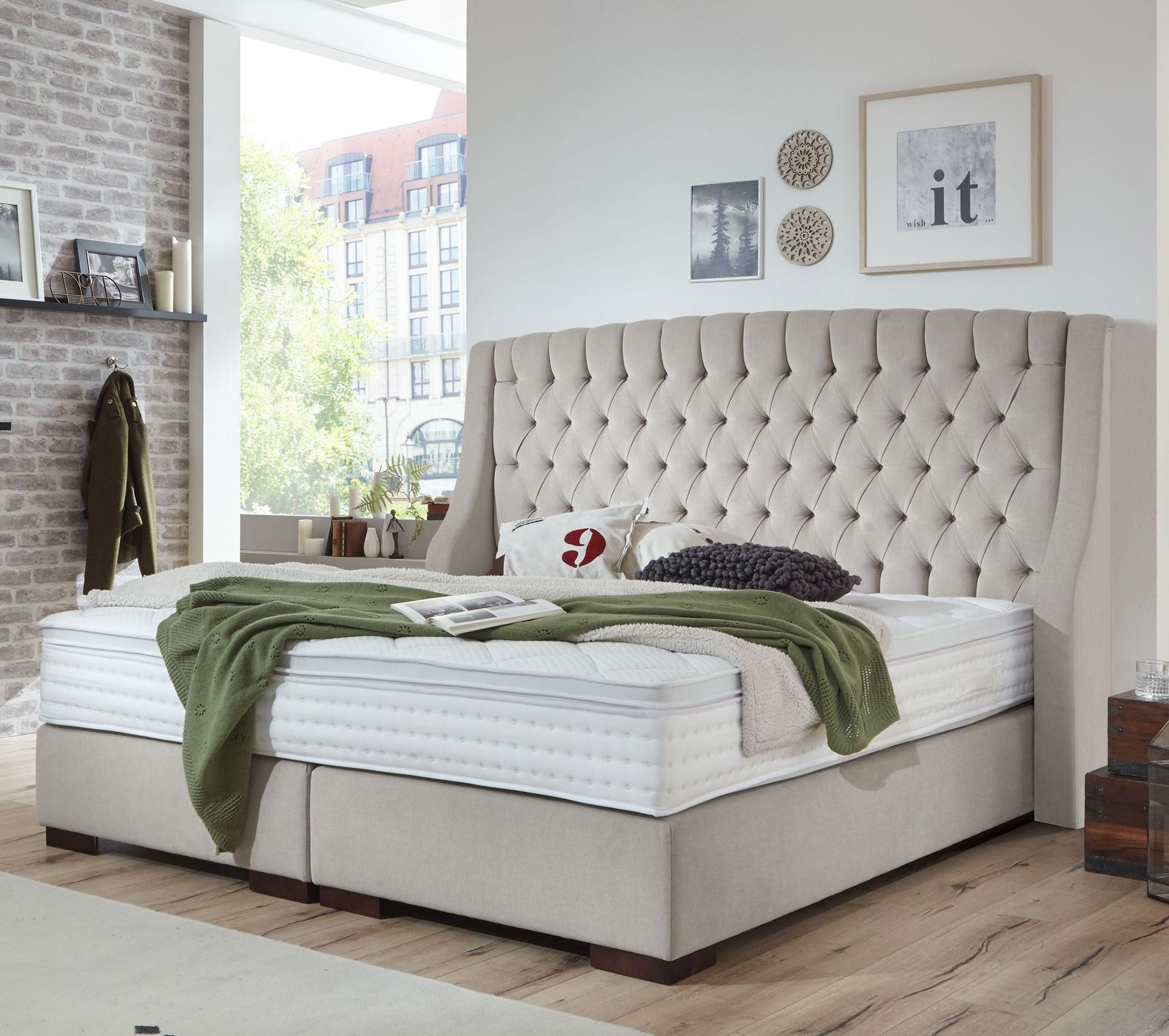 chesterfield bett mit boxspring system empire select bridgeport. Black Bedroom Furniture Sets. Home Design Ideas