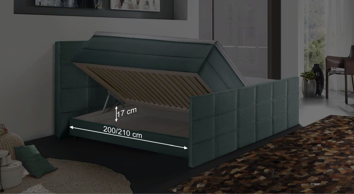 Bemaßungsgrafik zum Bettkasten des Boxspringbettes Cordilla