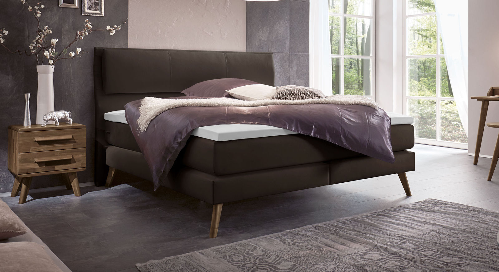 Espargo Boxspringbett in anthrazit