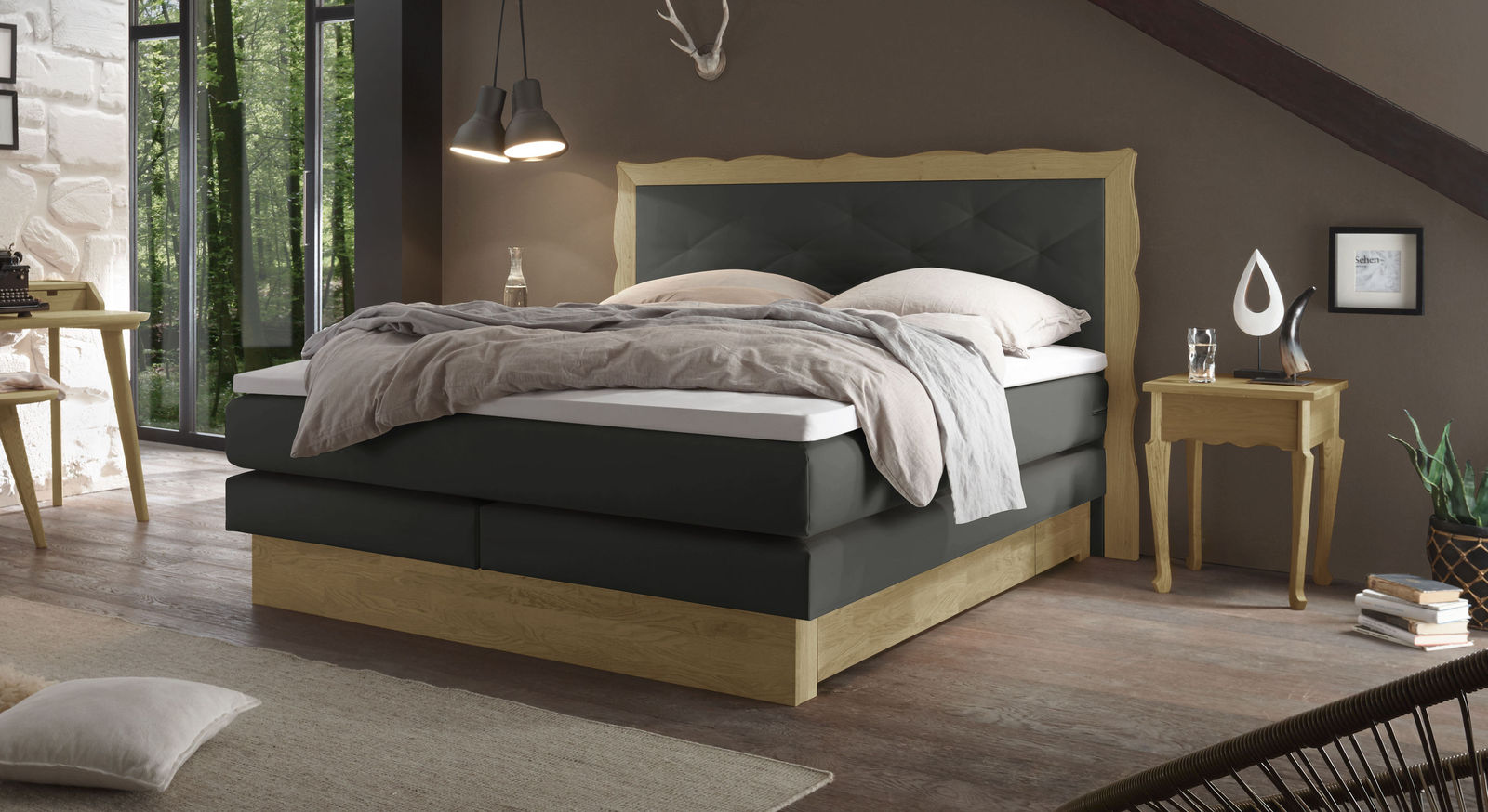Boxspringbett Gradina in anthrazitfarbenem Luxus-Kunstleder