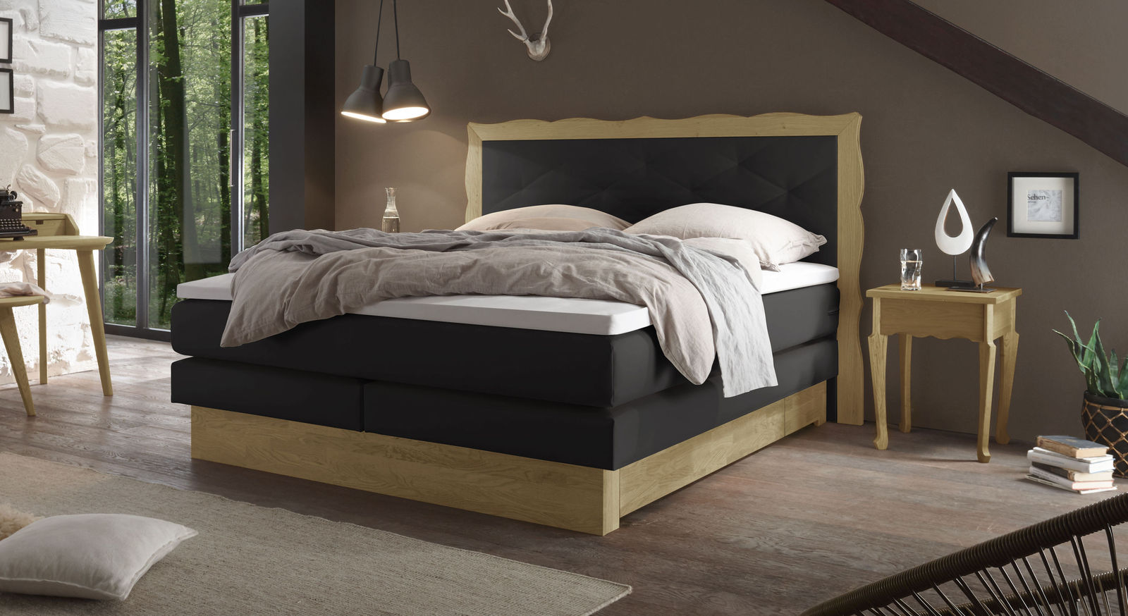 individuell anpassbares boxspringbett mit 2 schubladen gradina. Black Bedroom Furniture Sets. Home Design Ideas