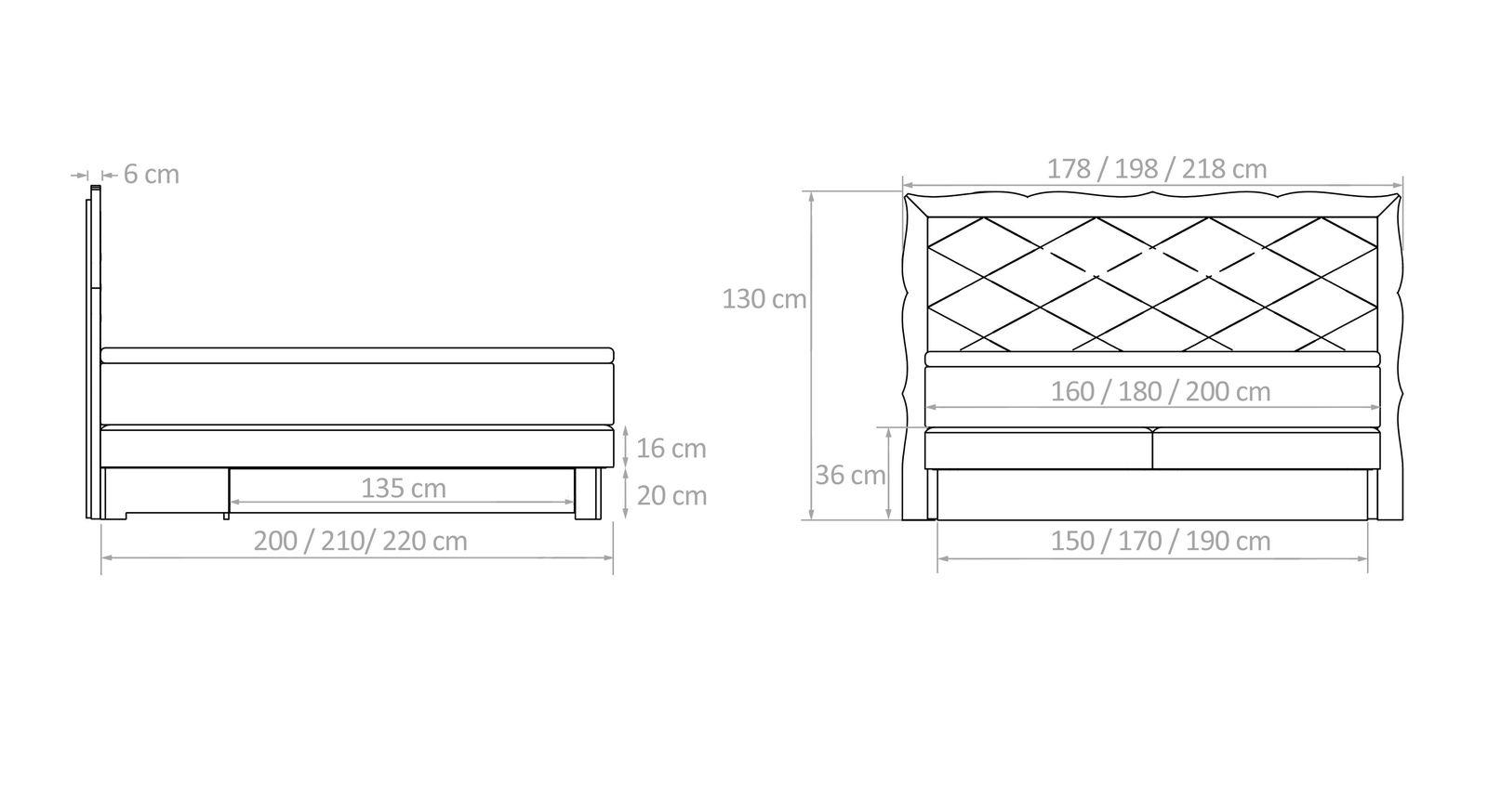 Übersichts-Grafik für die Maße von Boxspringbett Gradina
