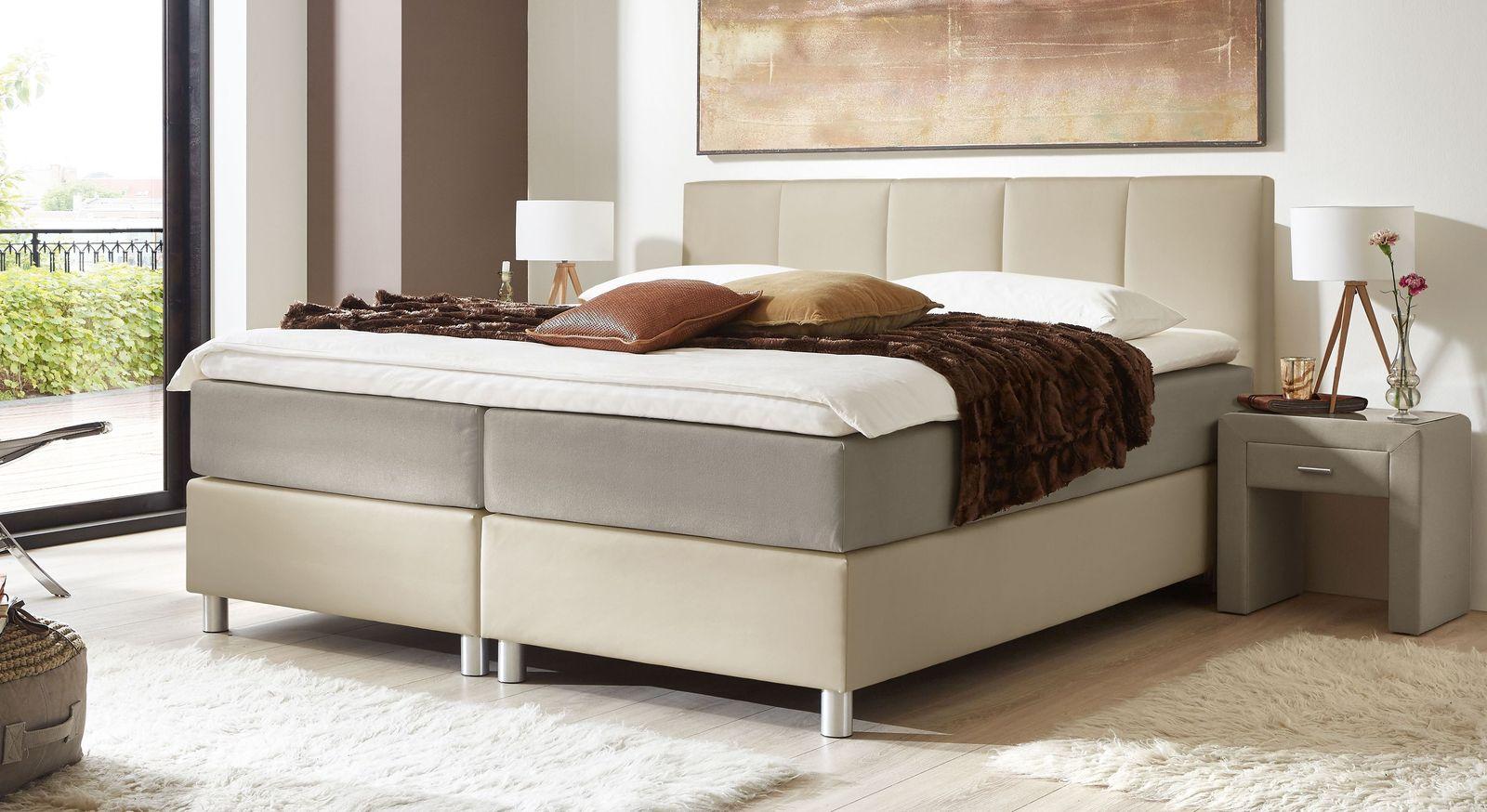66 cm hohes Boxspringbett Greenwood aus weißem Kunstleder und taupefarbenem Stoff