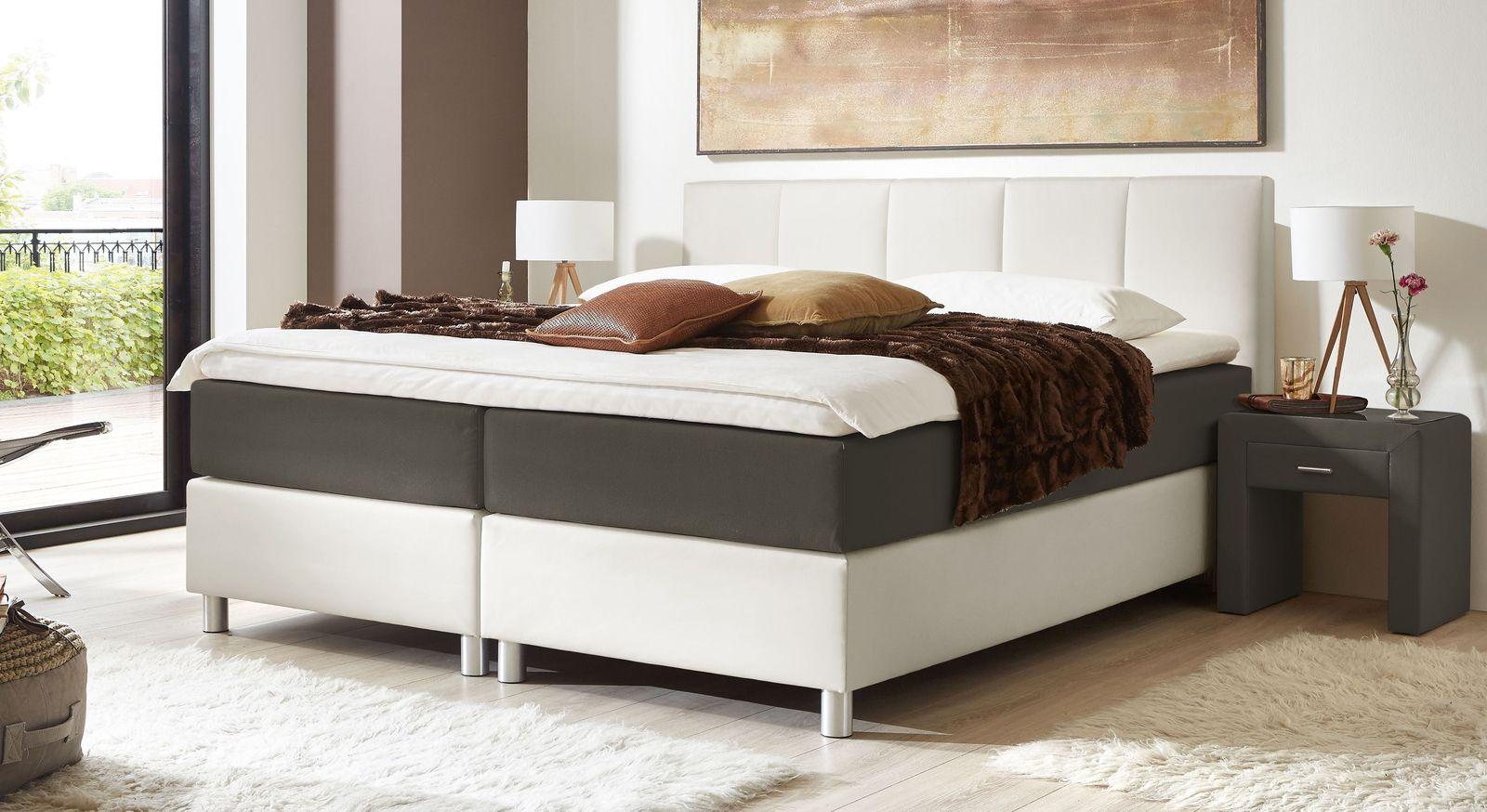 66 cm hohes Boxspringbett Greenwood aus weißem Kunstleder und anthrazitfarbenem Stoff