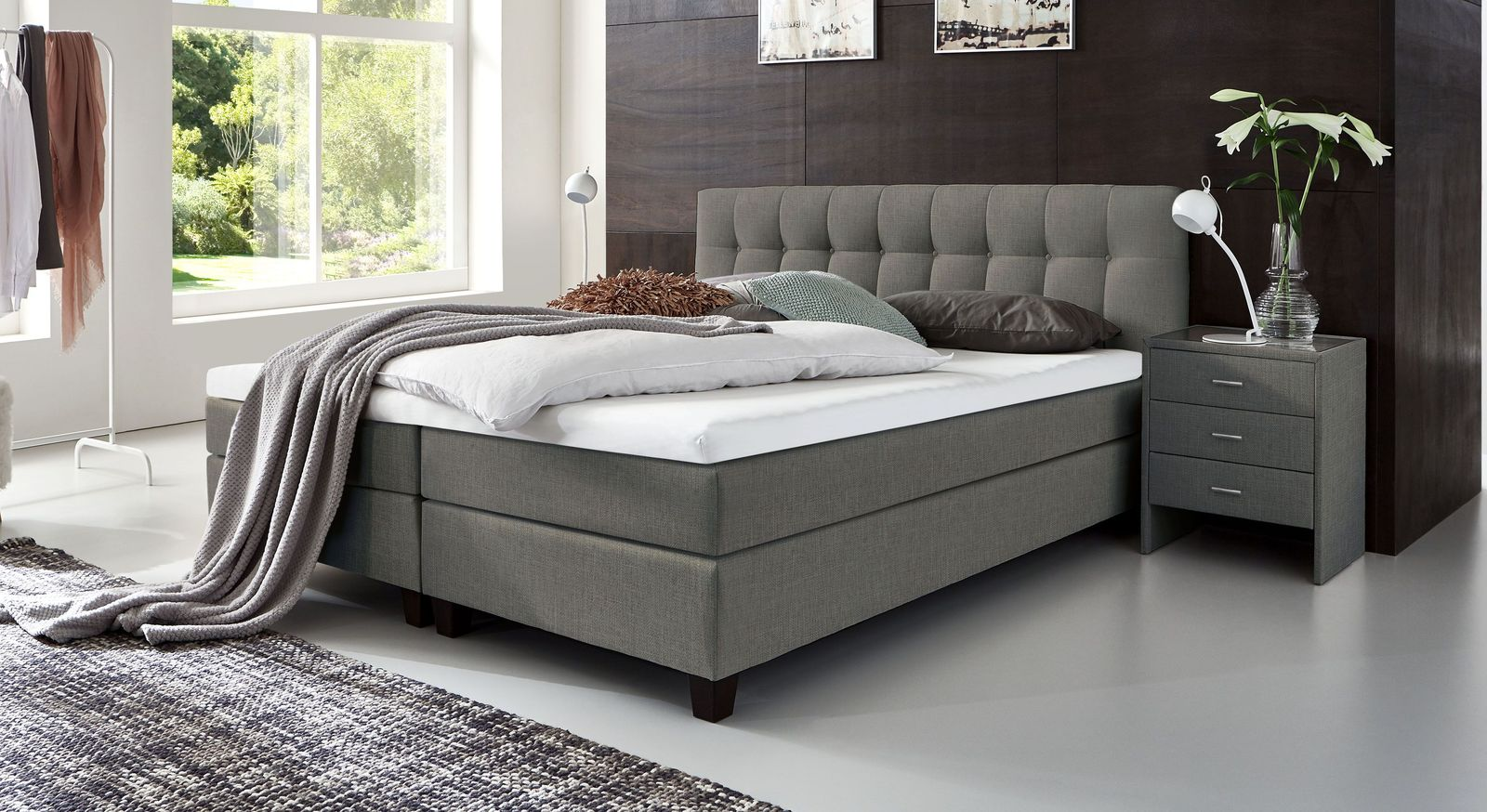 53 cm hohes Boxspringbett Luciano aus meliertem Webstoff in Grau