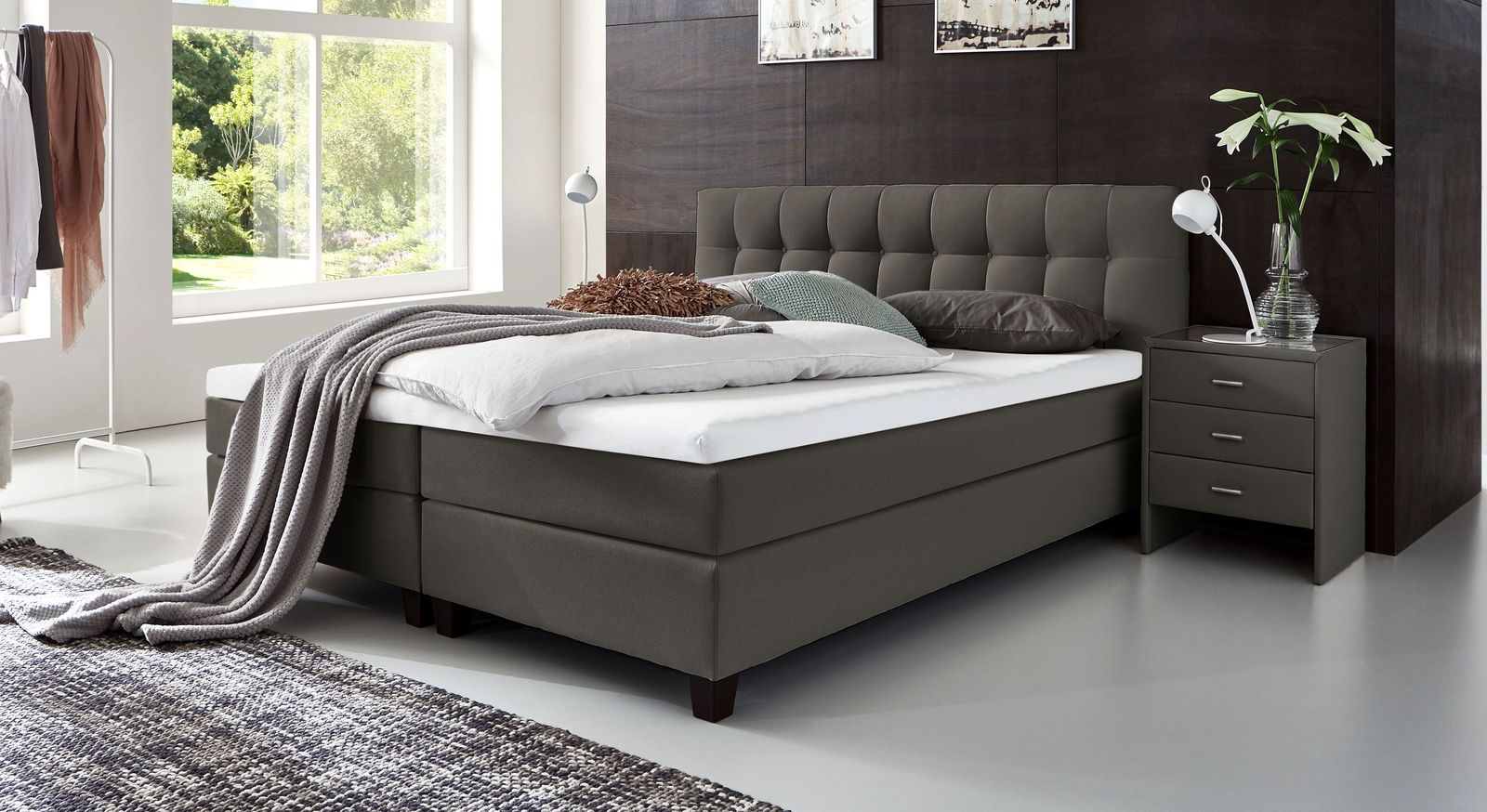 53 cm hohes Boxspringbett Luciano aus Webstoff in Anthrazit