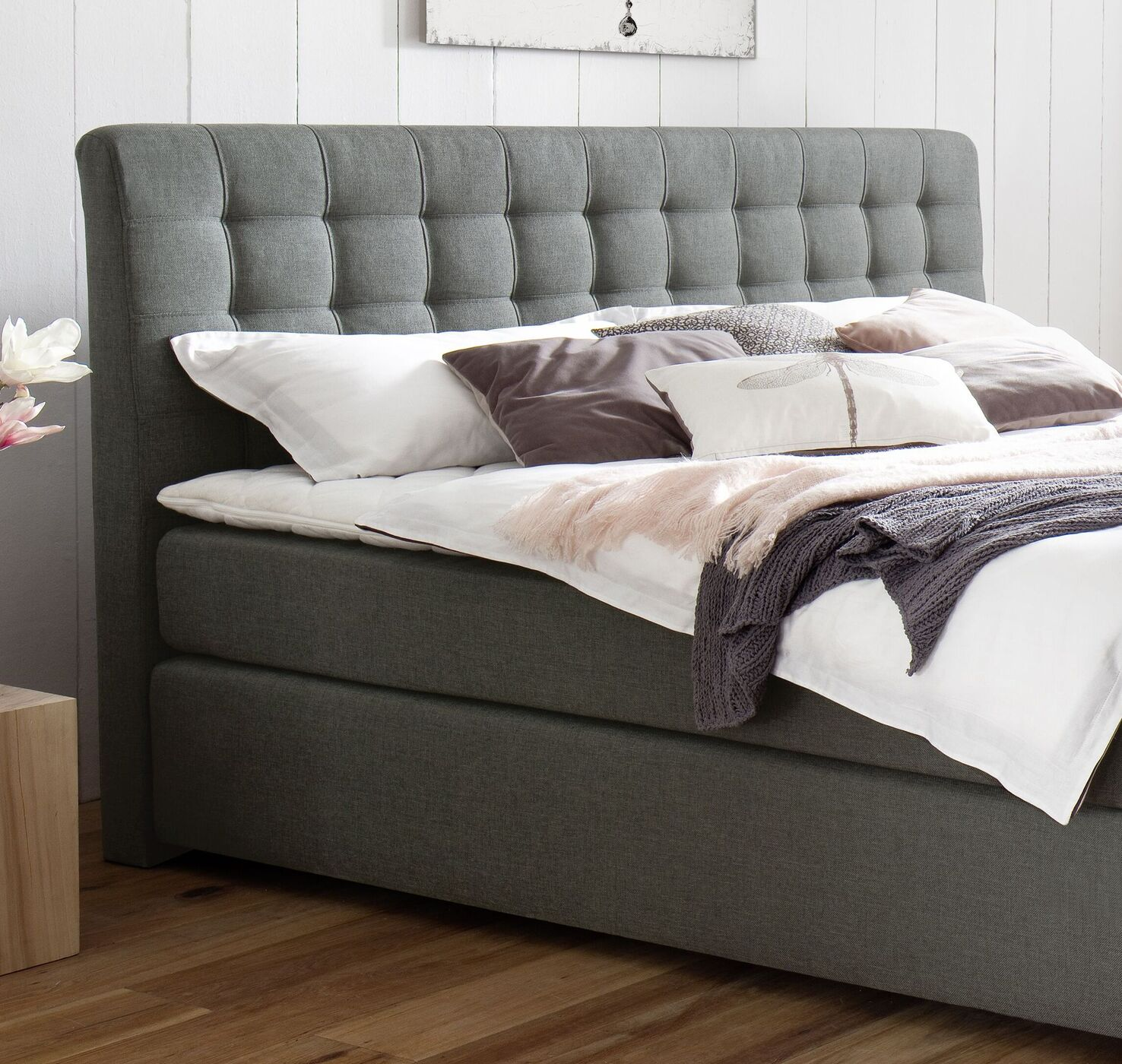 elegantes boxspringbett mit webstoff z b in h3 bis 120 kg matai. Black Bedroom Furniture Sets. Home Design Ideas