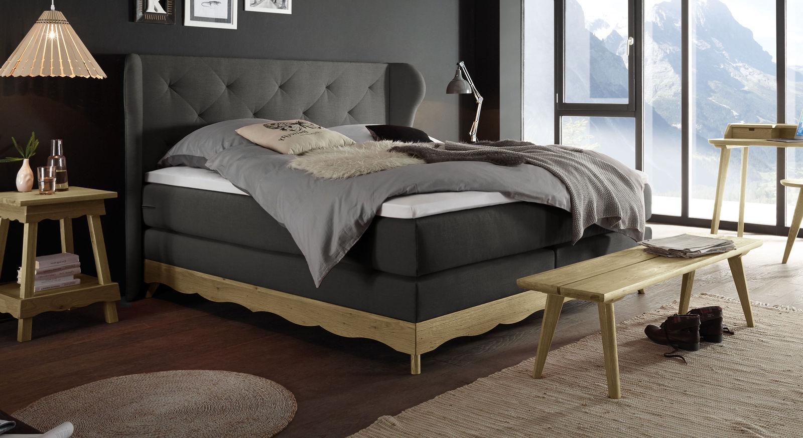 Boxspringbett Muanda mit Samtvelours in Anthrazit