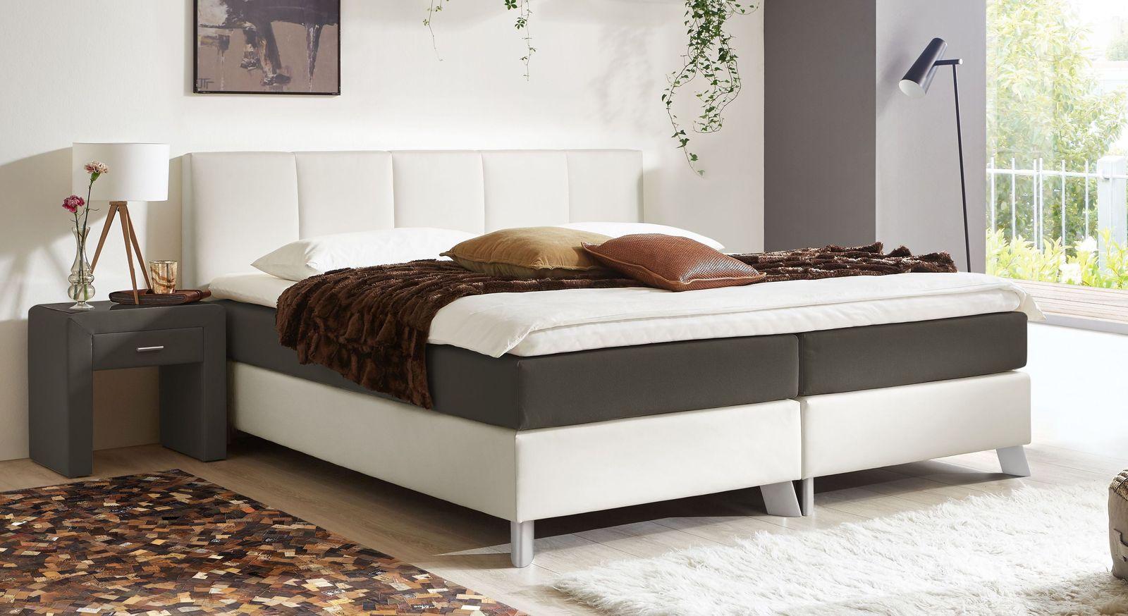 53 cm hohes Boxspringbett Oceanside aus weißem Kunstleder und anthrazitfarbenem Webstoff