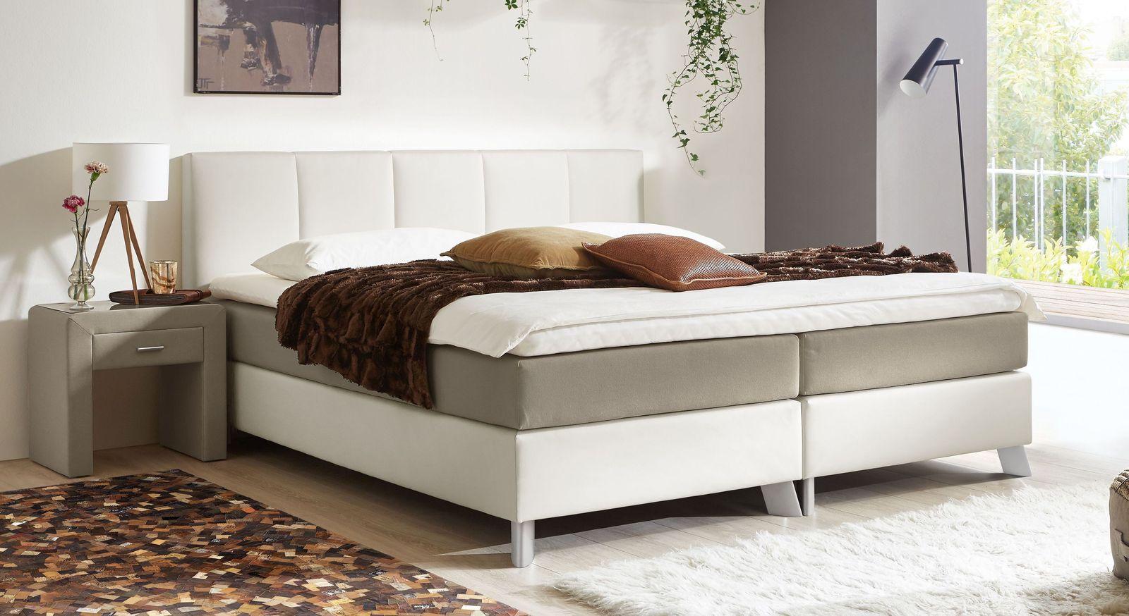 53 cm hohes Boxspringbett Oceanside aus weißem Kunstleder und taupefarbenem Webstoff