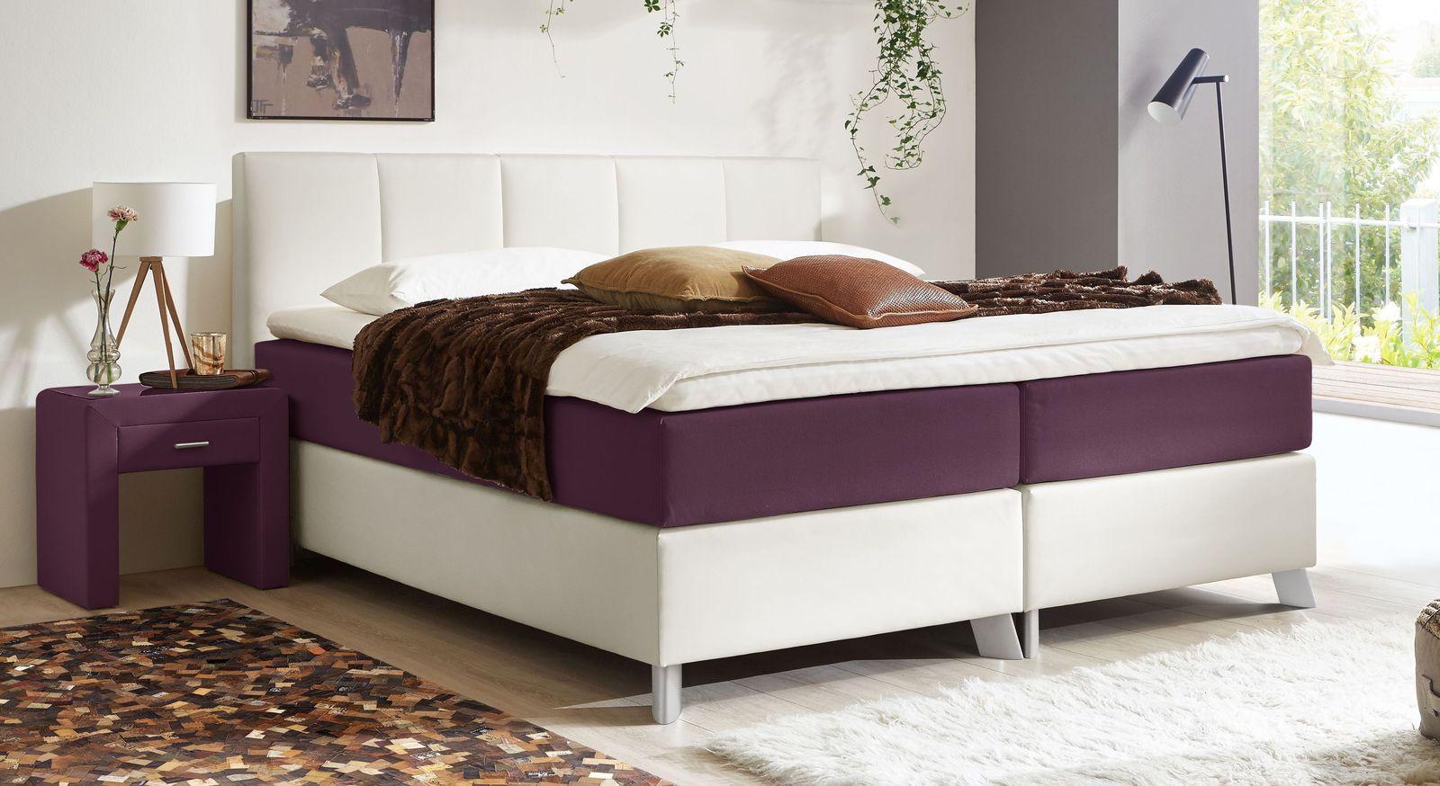 66 cm hohes Boxspringbett Oceanside aus weißem Kunstleder und beerefarbenem Webstoff