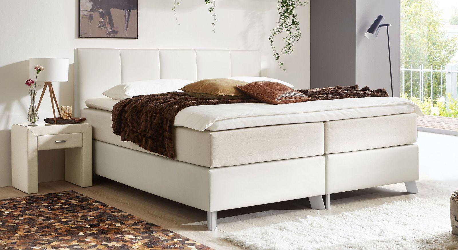 66 cm hohes Boxspringbett Oceanside aus weißem Kunstleder und cremefarbenem Webstoff