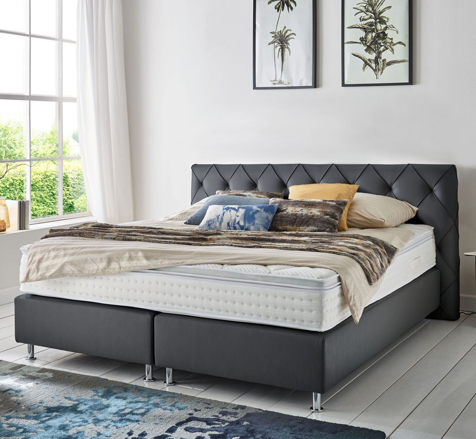 boxspringbett mit niedrigem kopfteil boxspringbetten shop boxspringbett mit hohem kopfteil. Black Bedroom Furniture Sets. Home Design Ideas