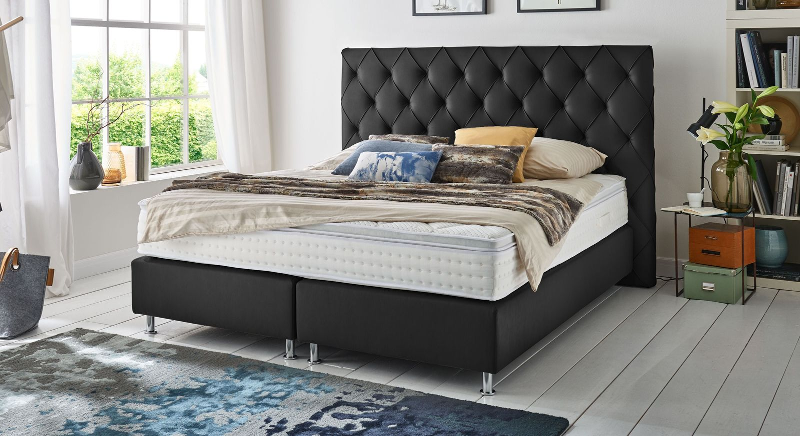 empire select boxspringbett moderner chesterfield look overland. Black Bedroom Furniture Sets. Home Design Ideas