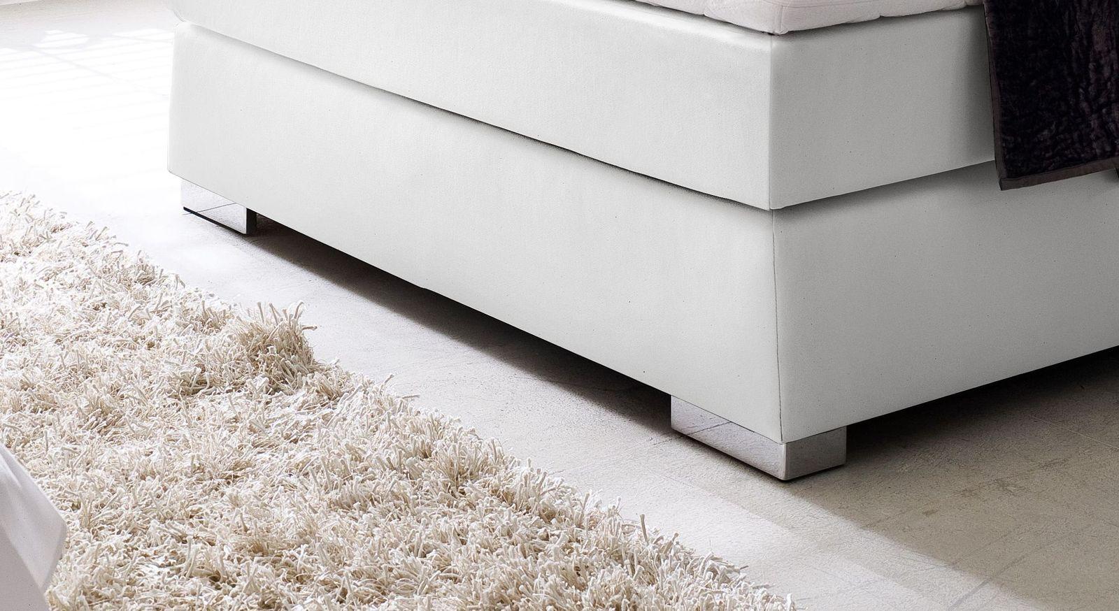 Boxspringbett metall  Boxspringbett aus Kunstleder in Weiß mit Nackenrolle - Rimori