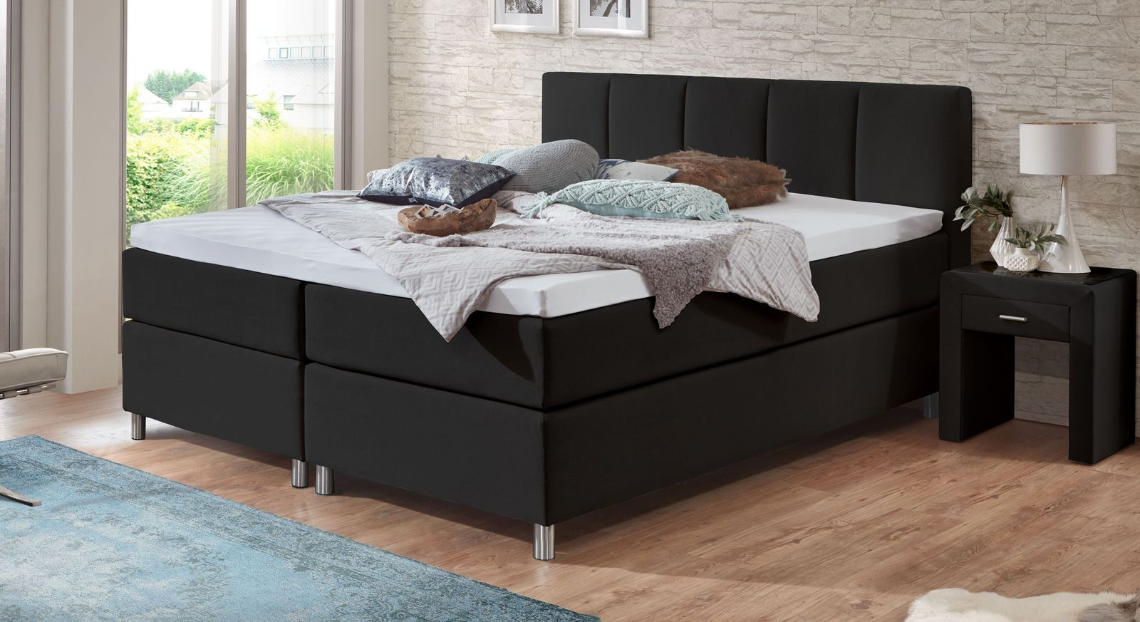 boxspringbett in 2 h hen mit taschenfederkern matratze rockford. Black Bedroom Furniture Sets. Home Design Ideas